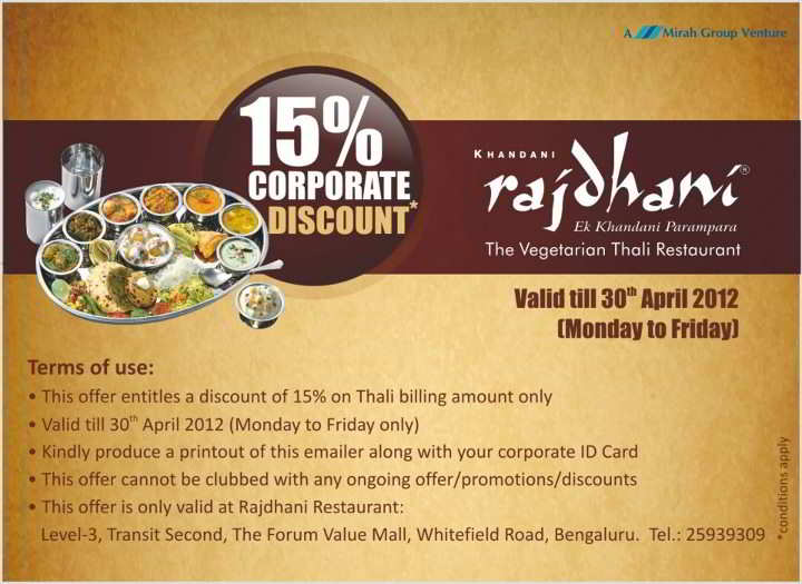 Corporate discount at rajdhani forum value mall till