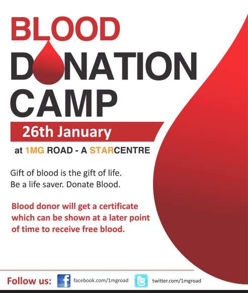 events in bengaluru blood donation camp on 26 january 2013 at 1 mg road a