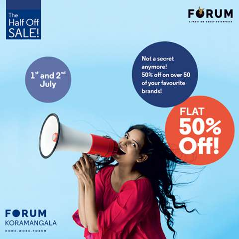 The Half Off Sale! Flat 50% off on over 50 Brands at Forum
