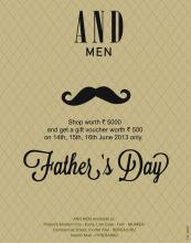 AND Men Father's Day Offer, Shop Worth Rs. 5000 & get a gift voucher worth Rs.500, 14 to 16 June 2013