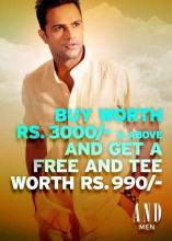 Buy worth Rs.3000 and above and get a free AND tee worth Rs.990