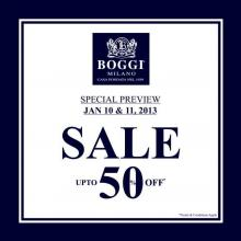 Boggi Milano Special Preview Sale on 10 and 11 January 2013 - Upto 50% off