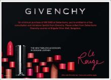 Shop for Rs.5000, free consultation and miniature lipstick from Givenchy, Debenhams offer, Orion Mall, Malleswaram, Bangalore,