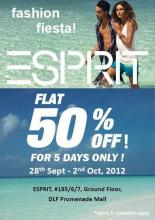 Esprit Fashion Fiesta - get Flat 50% off from 28 September to 2 October 2012