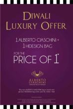 Diwali Luxury Offer - Buy any Alberto Ciaschini bag or clutch & get any Hidesign bag worth upto Rs.5000 free ! This festive season pick up the all new 'Alberto Ciaschini – handcrafted by Hidesign'. Offer valid between 1st and 15 November 2012 at the HiDesign store at Mantri Square, Malleswaram, Bangalore, Bengaluru