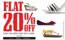 Flat 20% off on select footwear at Lifestyle on 23 and 24 June 2012.