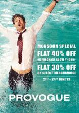 Provogue Monsoon Special Sale, Flat 40% off* on purchase above Rs.4999/-, Provogue Sale