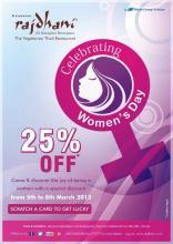 Celebrating Women's Day, offer, Rajdhani, Get 25% off, 5 to 8 March 2013, Phoenix Marketcity, Mahadevapura, Bangalore, Bengaluru, Vegetarian Food, Vegetarian Thali