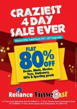 Flat 80% off Sale on Books, Music, Movies, Toys, Stationery, Gifts & Sporting goods, 15 to 18 August 2013, Reliance Timeout, Royal Meenakshi Mall, Mantri Square