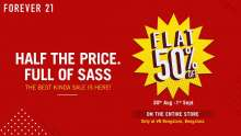 SALE, SALE, SALE! FLAT 50% OFF at Forever 21 VR Bengaluru  30th August - 1st September 2019