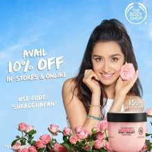 Flat 10% off at The Body Shop in stores and online for all Shraddha Kapoor Fans  until 9th September 2019