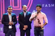 L-R Mr Kunal Mehta (VP - Mkg and BD) and Mr Manish Mandhana (MD. Mandhana Industries Ltd.)  receive the award for Indian Rising Star at IFF 2016
