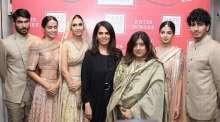 Models showcasing preview of Anita Dongre's bridal collection at the Vogue Bridal Studio - anita Dongre & Priya Tanna, editor, Vogue India3.07.2015